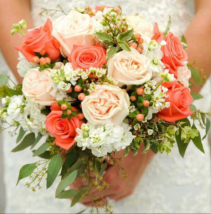 Coral Plush Garden Bridal Bouquet