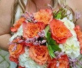 Coral Rose and White Hydrangea Bridal Bouquet Hand-Tied Bridal Bouquet