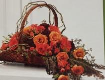 coral rose basket sympathy basket