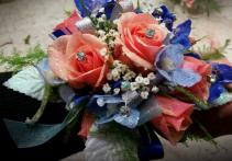 Coral Roses & Blue Delphinum Wrist Corsage