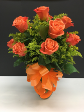 ORANGE ROSES IN VASE WITH BOW ROSES-ORANGE WITH BOW