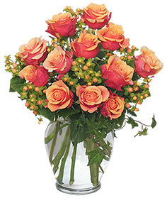 Coral Sunset Bouquet of Roses