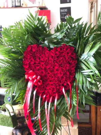 Heart with Palm Leafs  Standing Spray