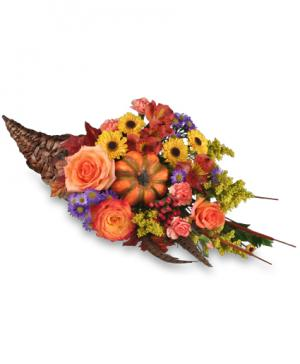 Cornucopia Centerpiece Thanksgiving Arrangement in Monroe, MI | Deb's Floral Design