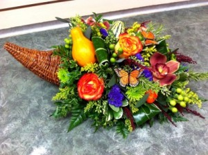 Cornucopia Centerpiece in Calgary, AB | FIRST CLASS FLOWERS LTD.