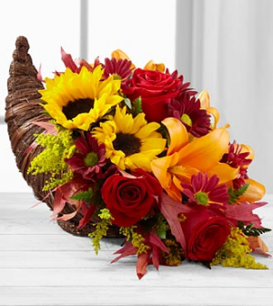 Cornucopia Table Arrangement Thanksgiving in Henderson, TX | RAYFORD FLORIST & GIFTS