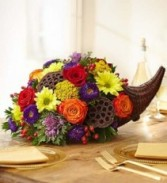 Cornucopia Thanksgiving Table Arrangement