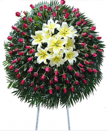 Corona para funeral Rosas