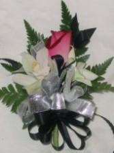 SILVER & BLACK Wedding Corsage