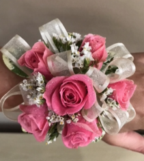 Hot Pink Spray Rose Corsage