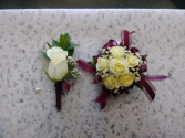 Corsage and Boutonniere  Matching Pair