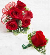 Corsage and matching boutonniere! Your color choice of ribbon and sparkles!
