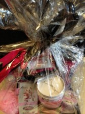 Cosmetic Bag with bath products Gift Basket
