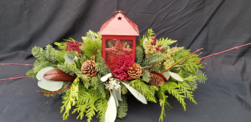 Cottage Lantern Christmas Arrangement