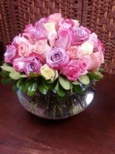 COTTON CANDY BOWL 36 ASSORTED PASTEL COLOUR ROSES