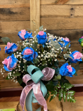 cotton candy  dozen roses