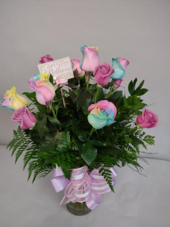 Cotton Candy Dozen Roses