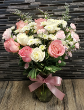 Cotton Candy Pink and white vase arrangement