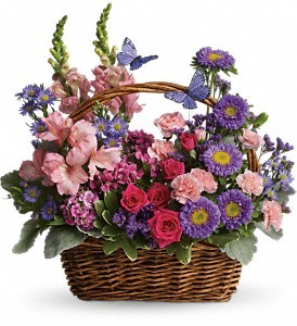 Country Basket Full Of Flowers