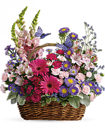 Country Basket of Blooms Mixed arrangment in wicker basket