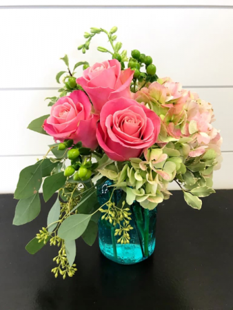 Country Charm Colored Mason Jar Arrangement