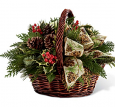 Country Christmas  Basket of greens berries pinecone and bow