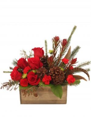 Country Christmas Box Arrangement in Stow, MA | STOW FLORIST/ONE MAIN ST STUDIO