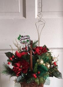 Country Christmas Silk Basket Arrangement