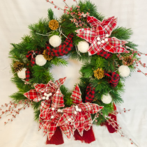 Country Christmas Silk Floral Wreath