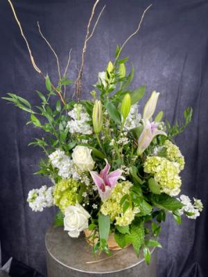 Country Garden Basket Arrangement in Summerville, SC | The Tilted Tulip