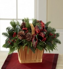 Greens and Cones Basket Christmas