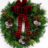 Country Living Wreath Fresh mixed greens w/bow