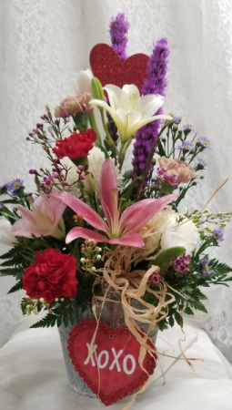 Country Love Bouquet Fresh arrangement in galvanized tin
