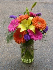 Country Gerbera Mason Jar of Bold Colors