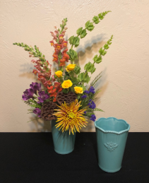 Country Rainbow Keepsake Ceramic Vase