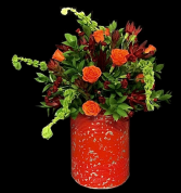 Country Road Floral  Red Distressed Metal Bucket