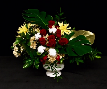 Country Road Red Roses, Cotton Bolls with Gold Leaves