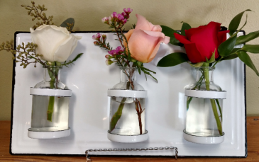 Country Rose White enamel wall hanging with vases including 3 roses comes with stand for display