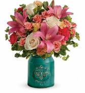 Country Skies Bouquet Fresh Arrangement-Stoneware Crock