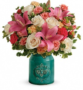 Country Skies Bouquet Two Gifts In One!  Stoneware Crock!