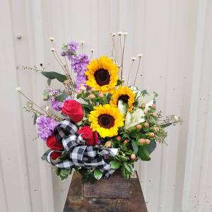 Country Sunshine Wooden Box Arrangement in Burleson, TX | Texas Floral Design Inc