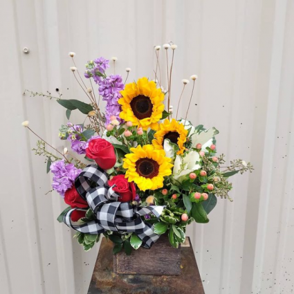 Country Sunshine Wooden Box Arrangement