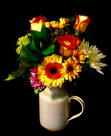 Wishes of Spring! Rustic Enamel Pitcher With Bright Floral Design