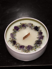 Cow Harbor Candle Company Lavender  enhanced with dried lavender and amethyst crystals