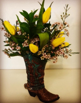Cowboy Up! Resin Boot with Tulip Mix