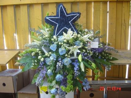 cowboys fan casket spray casket spray in Homestead, FL - FIESTA FLOWERS & GIFTS