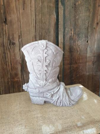 Cowgirl/cowboy cement planter  permanent floral