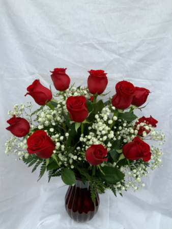 One Dozen Red Roses Vase
