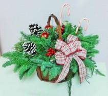 Cozy Christmas Basket Arrangement