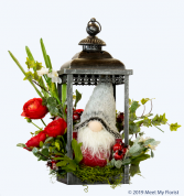 Cozy Gnome ***Faux Flowers***Metal Lantern